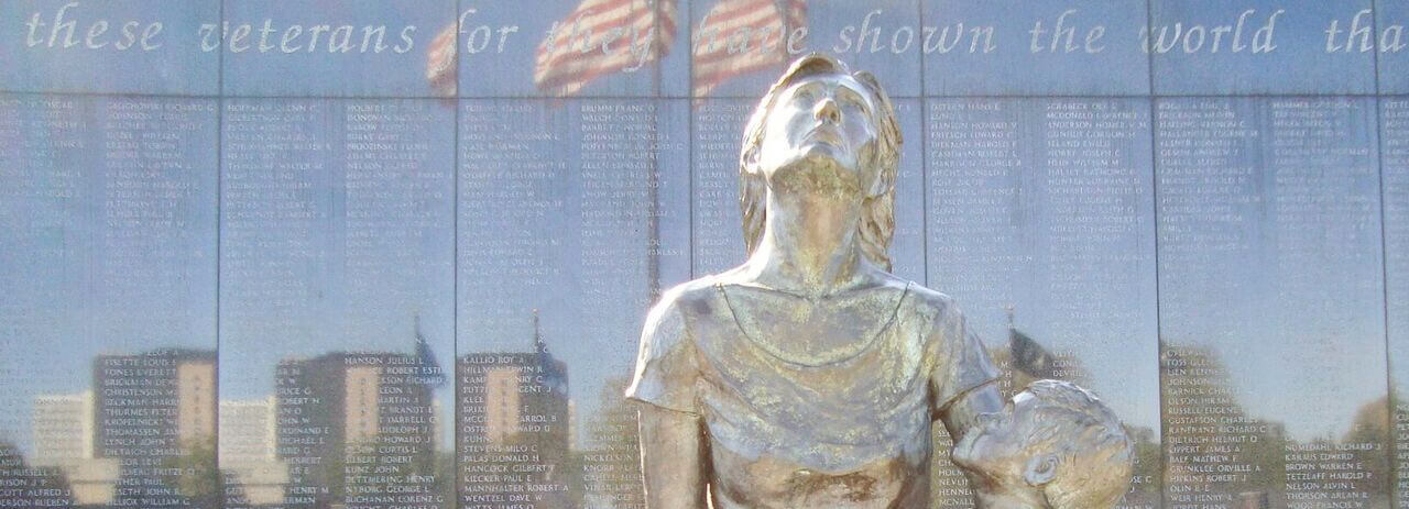 Soldiers Field Widow and Child statue
